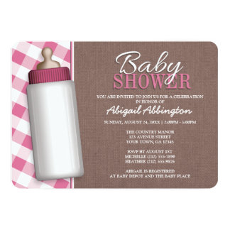 Rustic Pink Gingham Baby Bottle Baby Shower Invite