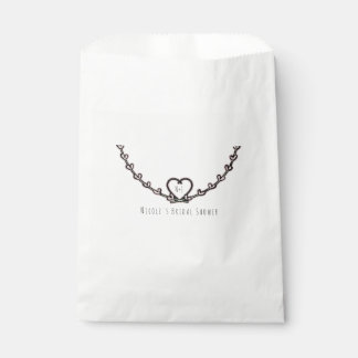 Rustic Pink Heart Vine Bridal Shower Custom Favor Favour Bags