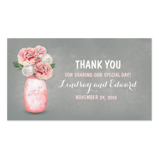 Rustic Pink Mason Jar DIY Wedding Favor Tag Pack Of Standard Business Cards