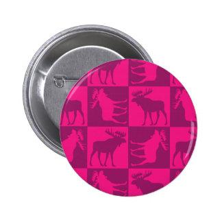 Rustic pink moose foursquare design 6 cm round badge