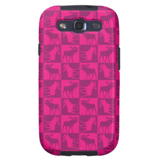 Rustic pink moose foursquare design samsung galaxy SIII cases
