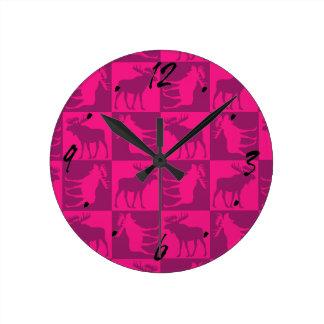 Rustic pink moose foursquare design wallclock