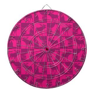 Rustic pink moose foursquare design dartboards