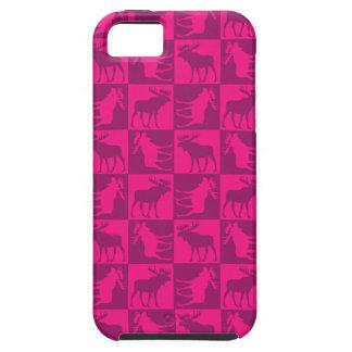 Rustic pink moose foursquare design iPhone 5 cover