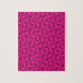 Rustic pink moose foursquare design jigsaw puzzles