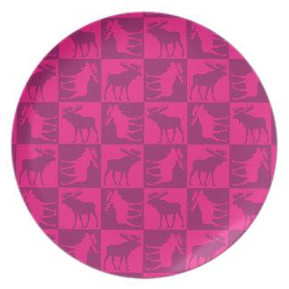 Rustic pink moose foursquare design plate
