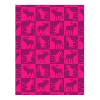 Rustic pink moose foursquare design postcard