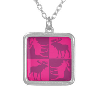 Rustic pink moose foursquare design square pendant necklace