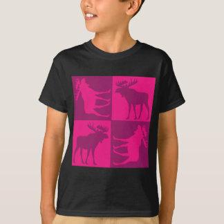 Rustic pink moose foursquare design t shirts