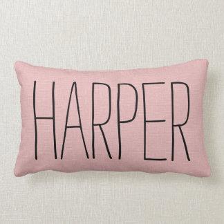 Rustic Pink Name Monogram Lumbar Cushion