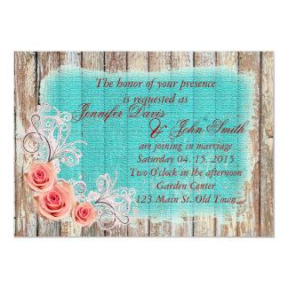Rustic Pink Rose Turquoise Burlap Wedding rpr1 13 Cm X 18 Cm Invitation Card