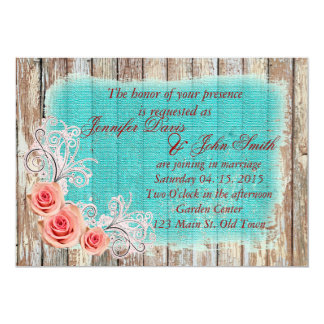 Rustic Pink Rose Turquoise Burlap Wedding rpr1 Card