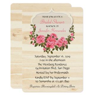 Rustic Pink Roses Floral Wood Bridal Shower 13 Cm X 18 Cm Invitation Card
