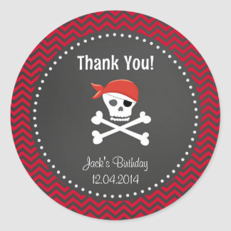 Rustic Pirate Birthday Thank You Sticker Red