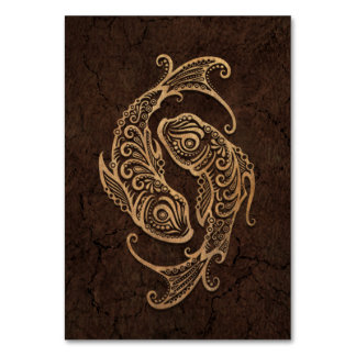Rustic Pisces Zodiac Sign on Stone Effect Card