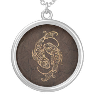 Rustic Pisces Zodiac Sign on Stone Effect Silver Plated Necklace