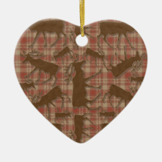 Rustic plaid brown moose heart ornament