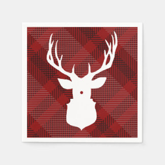 Rustic Plaid Deer | HOLIDAY NAPKINS Paper Napkin