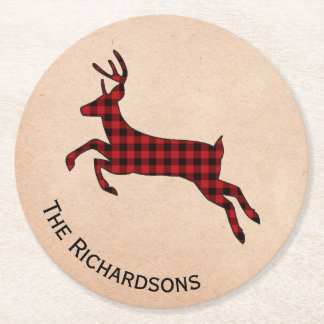 Rustic Plaid Deer Personalized Paper Coasters