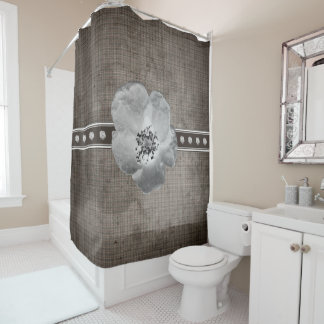 Rustic Plaid Flower Shower Curtain