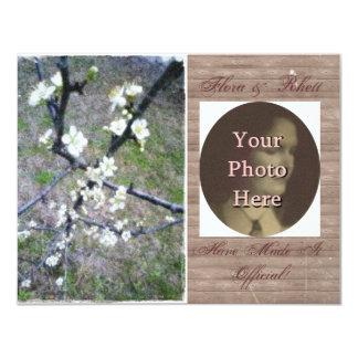 Rustic Plum Photo Engagement Annoucement 11 Cm X 14 Cm Invitation Card