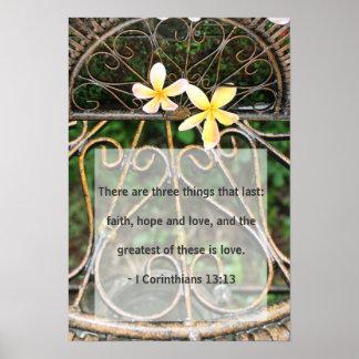 Rustic Plumeria Frangipani Bible Love Quote Poster