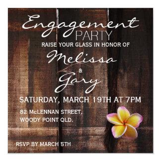 Rustic plumeria / frangipani engagement party card