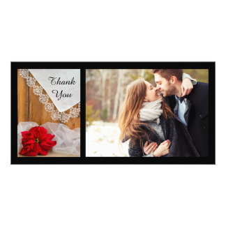 Rustic Poinsettia Lace Winter Wedding Thank You Photo Card Template