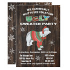Rustic Polar Bear Ugly Sweater Party Card
