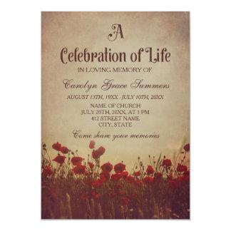 Rustic Poppy Field Celebration of Life Card