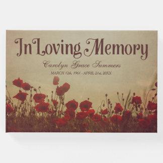 Rustic Poppy Field In Loving Memory Guest Book