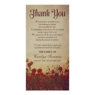 Rustic Poppy Field | Sympathy Thank You Card