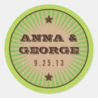 Rustic Poster: Apple Green Wedding Sticker Seal