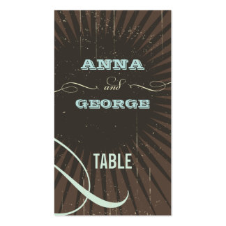 Rustic Poster: Blue & Cocoa Escort / Gift Tag Business Card Template