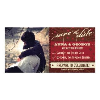 Rustic Poster: Chocolate Burgundy Save the Date Custom Photo Card