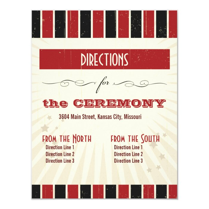 Rustic Poster: Red & Black Directions 11 Cm X 14 Cm Invitation Card