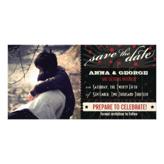 Rustic Poster: Red & Black Save the Date Card
