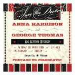 Rustic Poster: Red & Black Save the Date Personalised Invite
