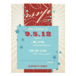 Rustic Poster: Red, White & Blue Wedding RSVP Custom Invite