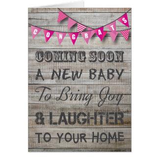 Rustic Pregnancy Congratulations Pink Bunting Baby Card