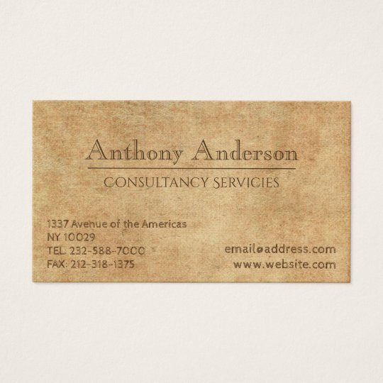 Rustic professional old paper business card