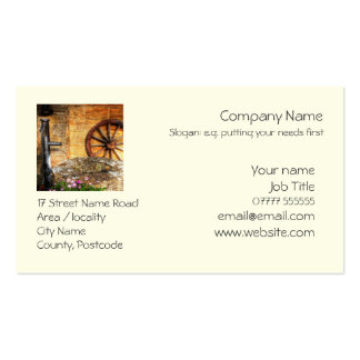 Rustic Pump Well and Cartwheel scene Business Card Template
