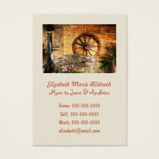 Rustic Pump, Well and Cartwheel scene Business Card
