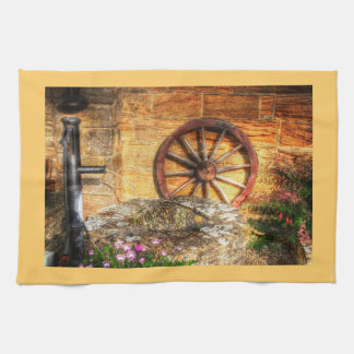 Rustic Pump, Well and Cartwheel scene Towels