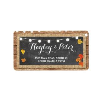 Rustic Pumpkin Chalk Address Light Labels Stickers