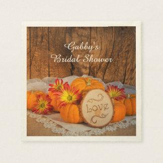 Rustic Pumpkins Fall Bridal Shower Paper Napkin