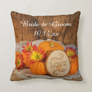 Rustic Pumpkins Fall Wedding Cushion