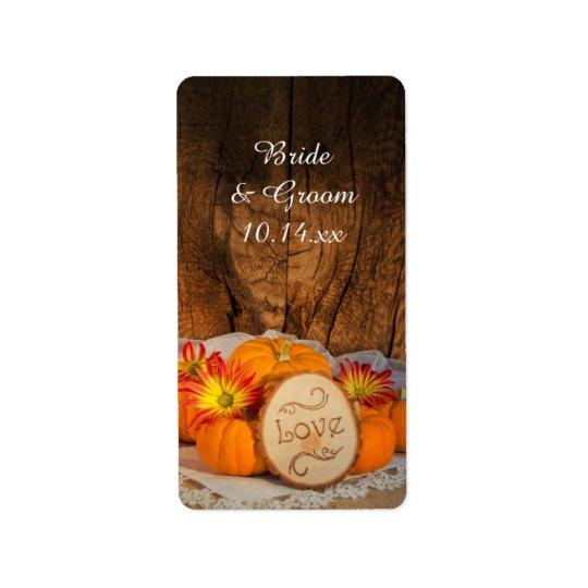 Rustic Pumpkins Fall Wedding Favour Tags