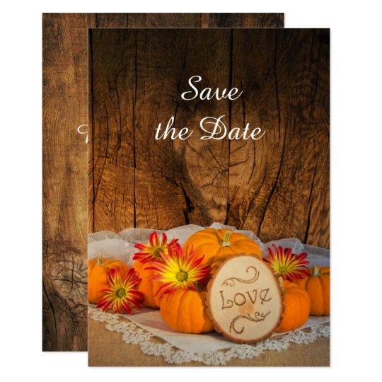 Rustic Pumpkins Fall Wedding Save the Date Card