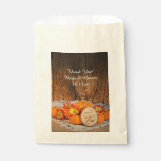 Rustic Pumpkins Fall Wedding Thank You Favour Bags